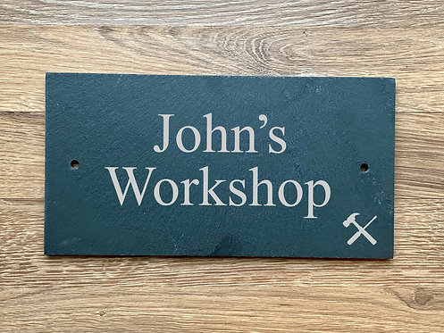 Machined Edge Slate Workshop Wall-Mounted Pre-drilled Door Sign Plaque 25cmx13cm