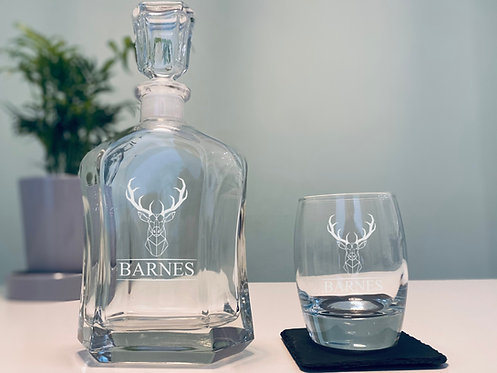 Stag Head Whisky Decanter and Tumbler Set