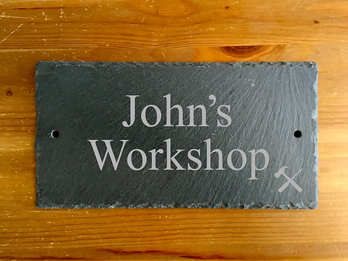 Personalised Slate Workshop Wall-Mounted Pre-drilled Door Sign Plaque 25cmx13cm