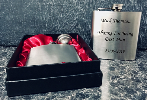 6oz Stainless Steel Groomsmen Hip Flask