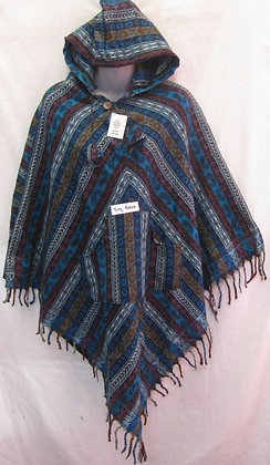 FE 09 Fringed Ponchos - Turquoise-Brown
