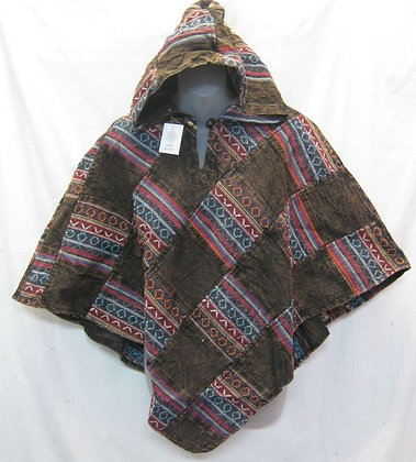 G131 Short Triangle Poncho - Brown
