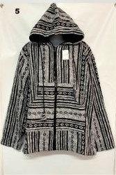 QU 94 Hooded Cotton Jacket - White Black Eye