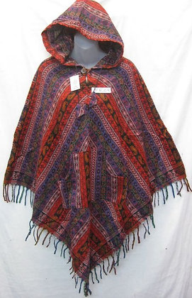 FE 09 Fringed Poncho - Red-Rust