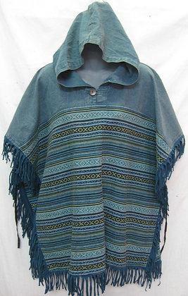 A123 Short Fringed Poncho - Turquoise