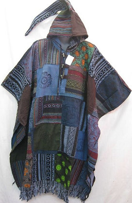 QU103 Patchwork Poncho - Turquoise