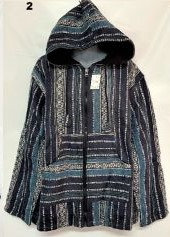QU 94 Hooded Cotton Jacket -  Navy Turquoise