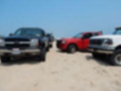 Trucks crowding a Napeague Beach