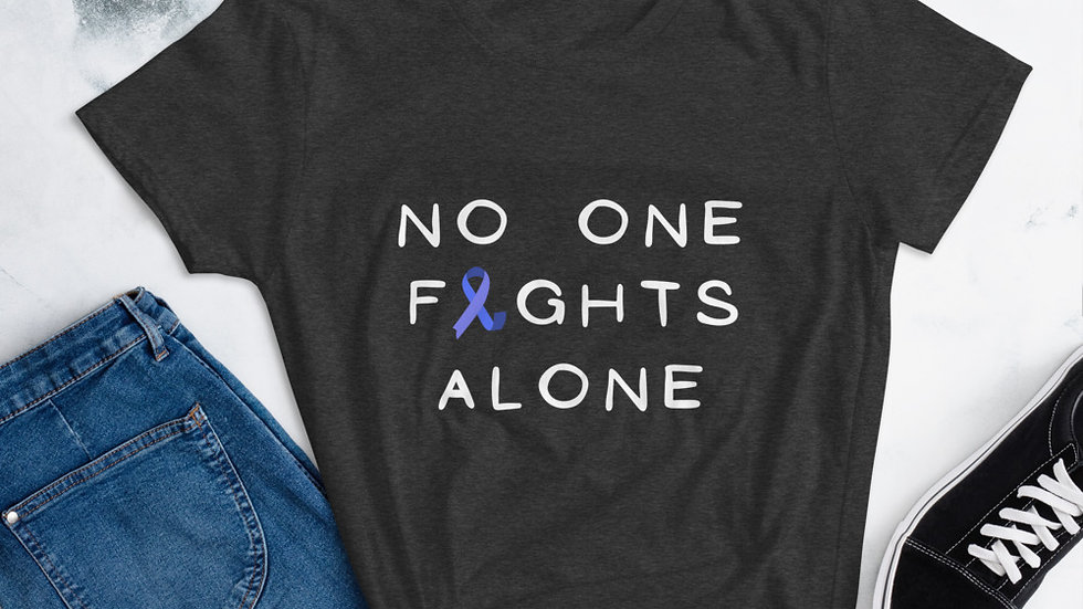 Women's No One Fights Alone Blue Ribbon Tee