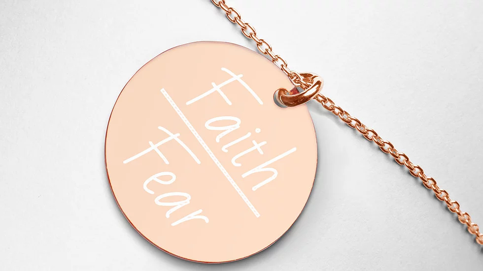 Faith Over Fear Engraved Disc Necklace (Gold, Rose Gold, White Rhodium)