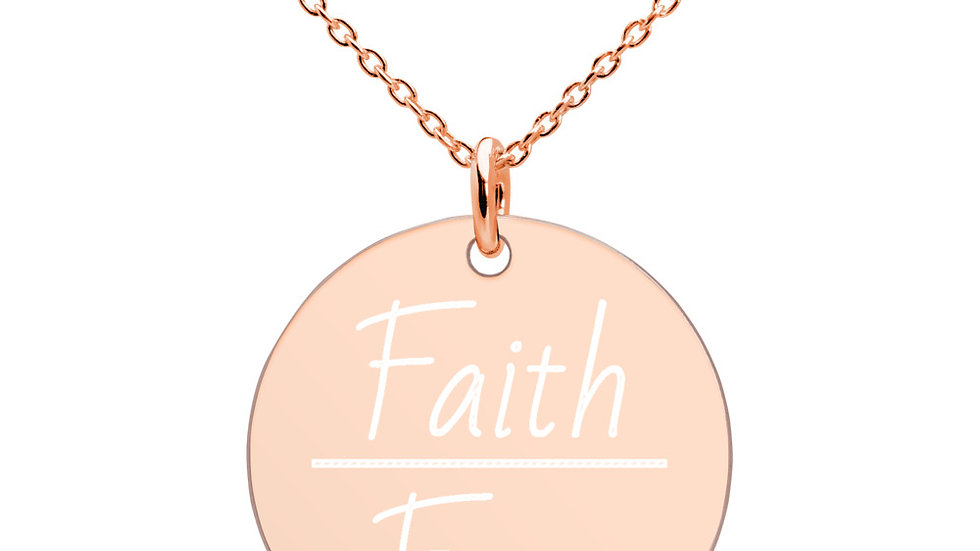 Faith Over Fear Engraved Disc Necklace (18K Gold, Rose Gold, White Rhodium)