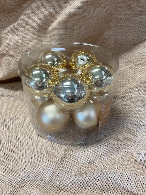 Boite de boule en verre dorée 10 pièces