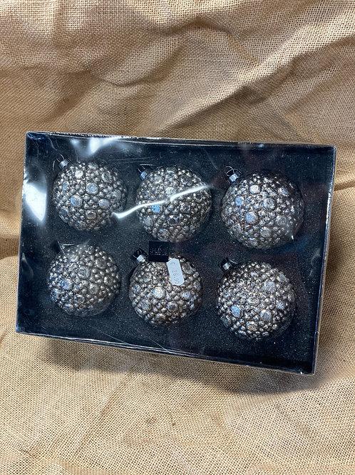 Boule en verre argenté 6 pièces