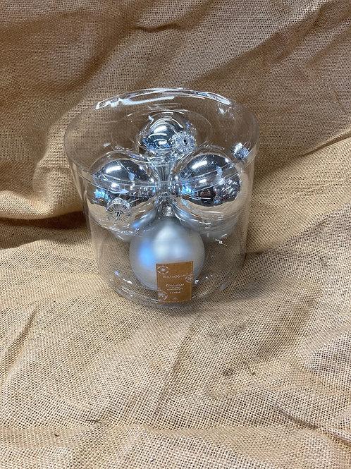 Boite de 6 boules en verre argenté ø 8cm