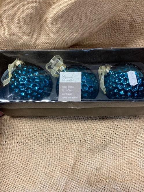Boule en verre bleu 3 pièces