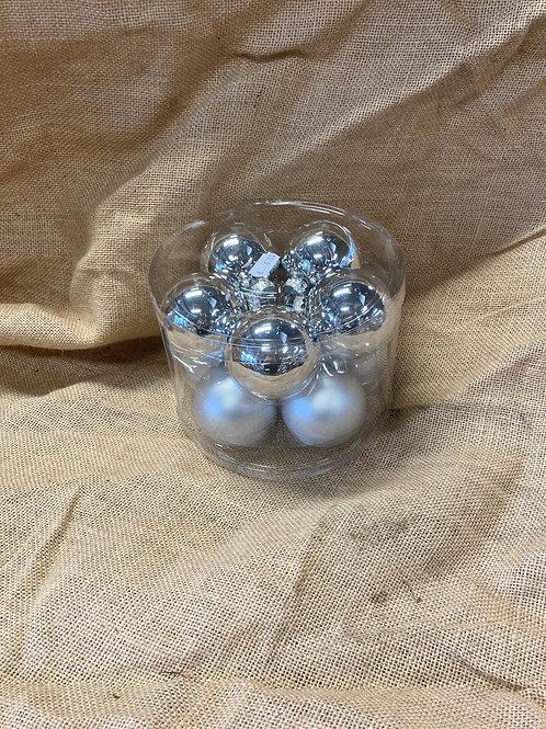 Boite de 10 boules en verre argenté