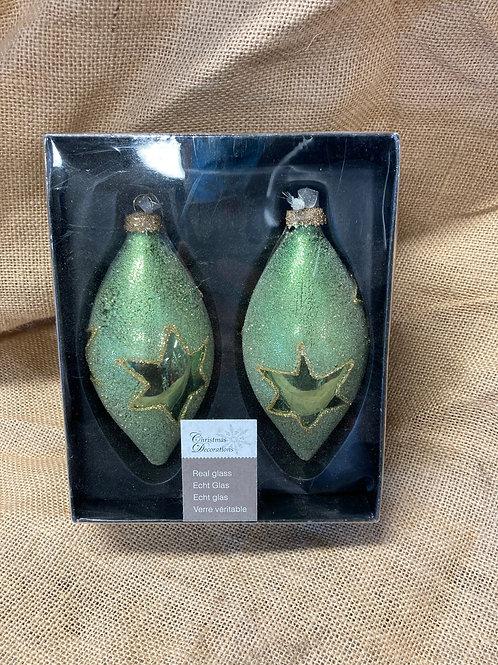 Boite de 2 boules en verre verte