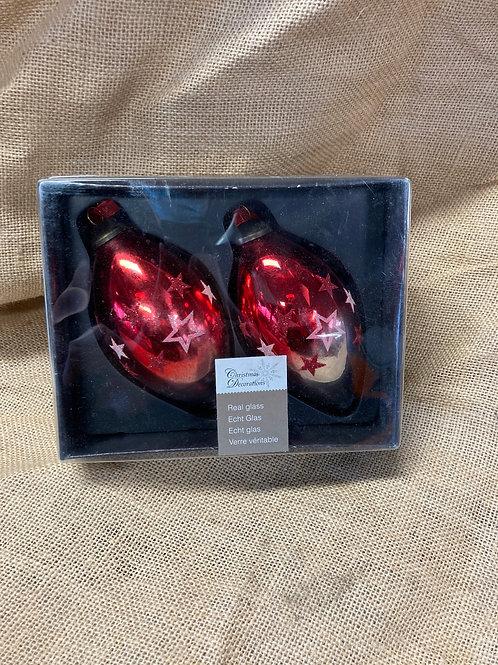 Boite de 2 boules en verre rouge