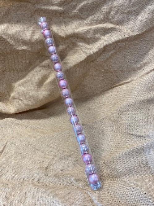Boite de boule en verre rose 18 pièces