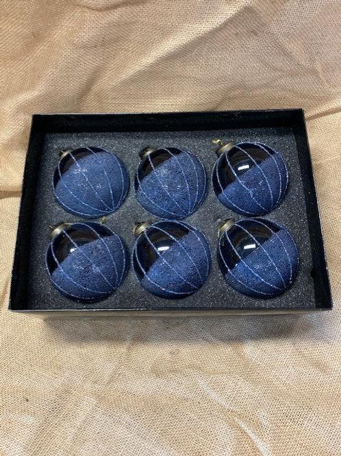 Boule en verre bleu 6 pièces