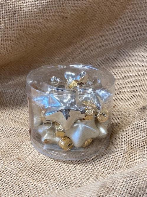 Etoile en verre 12 pièces ø4cm dorée