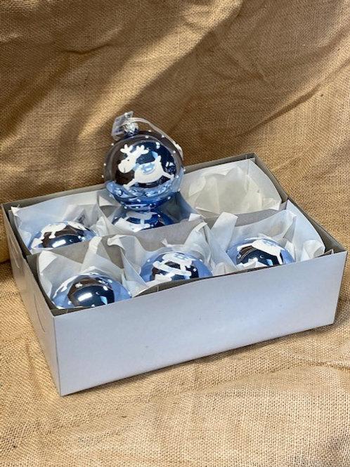 Boule en verre bleu avec renne 6 pièces