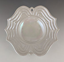 49 Lustered White Geometric Low Bowl Hor