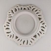 47 White Lustered Leaf Rim Low Bowl Bott