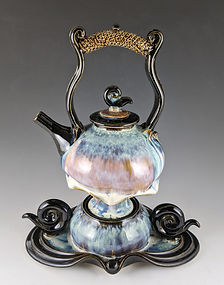 27 Opal and Black Teapot with Amber Over