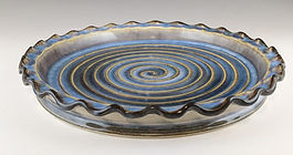 55 Side View Blue and Brown Tart Plate.j