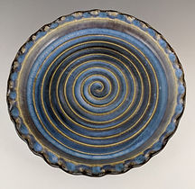 55 Top View Blue and Brown Tart Plate.jp
