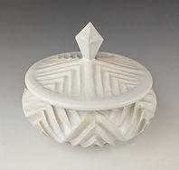 2 Lynnette Hesser, Geometric White Jar,