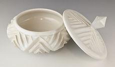 2 Geometric White Jar with Lid Off.jpg