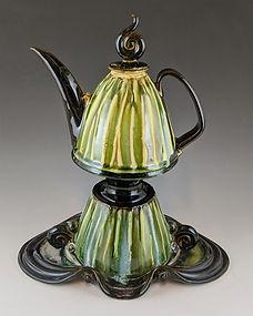24 Creamy Green Slipped Teapot on a Base