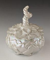 4 Lustered Carved Flower Jar, 5.25 h x 4