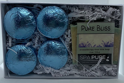 Pure Bliss 4-pack Shower Steamers & Aromatherapy Goat Milk Soap Gift Set