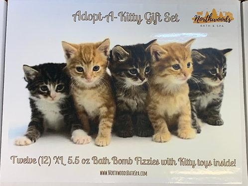 Large 5.5 oz Adopt-A-Kitty 12-pack Bath Bomb Gift Set