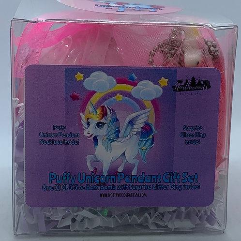 Puffy Unicorn Pendant Necklace 5.5 oz Bath Bomb Gift Set (Dark Pink/Candy)
