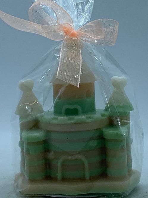 "Rainbow Castle 2 oz ""Fairy Dust/Cucumber Melon"" Soap (green, pale pink, peach)"