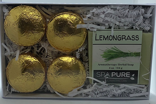 Lemongrass 4-pack Shower Steamers & Aromatherapy Herbal Soap Gift Set
