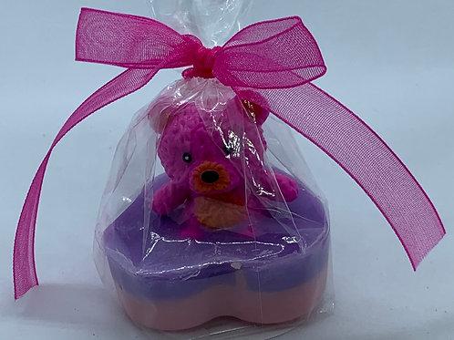 """Squishy Hot Pink Teddy Bear 1 oz """"Snuggable"""" Soap"""