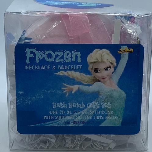 Frozen Necklace & Bracelet 5.5 oz Bath Bomb Gift Set (teal/candy)