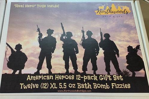 Large 5.5 oz American Heroes 12-pack Bath Bomb Gift Set