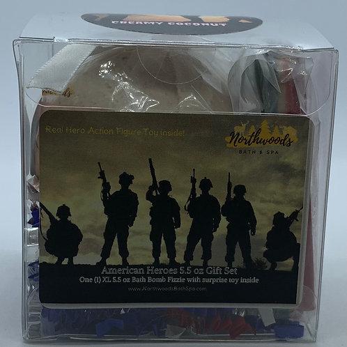 American Heroes (Creamy Coconut) 5.5 oz Bath Bomb Gift Set