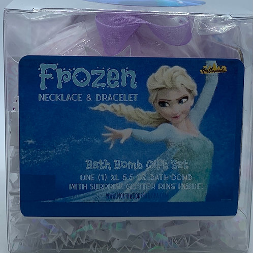 Frozen Necklace & Bracelet 5.5 oz Bath Bomb Gift Set (teal/berry)