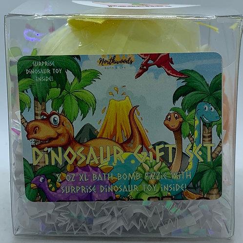 Colossal Dinosaur (Peaches) XXL 8 oz Bath Bomb Gift Set (yellow)