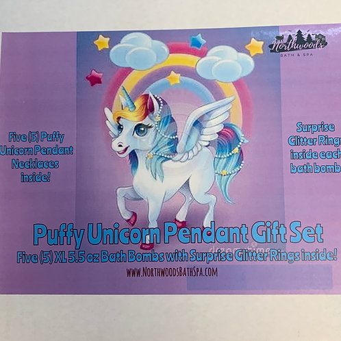Puffy Unicorn Pendant Necklace 5-pack Bath Bomb Gift Set