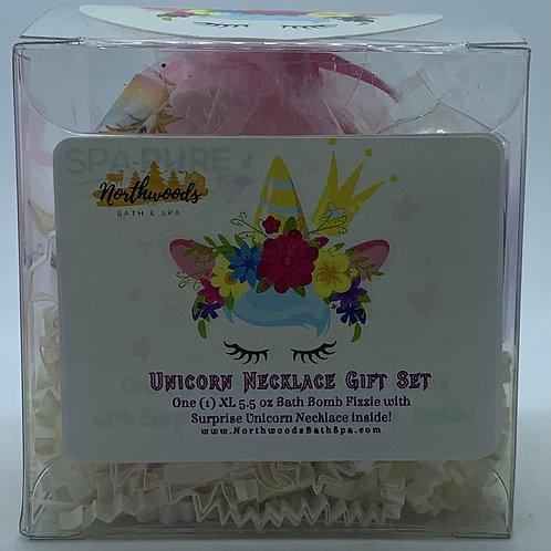 Unicorn Necklace 5.5 oz Bath Bomb Gift Set