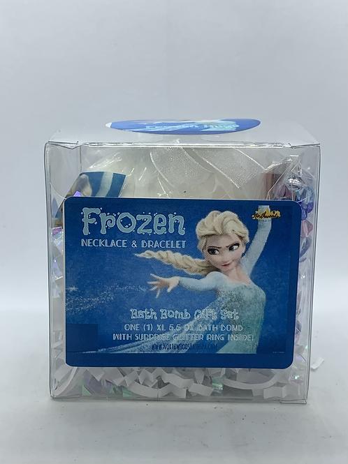 Frozen Necklace & Bracelet 5.5 oz Bath Bomb Gift Set (light blue/hugs)