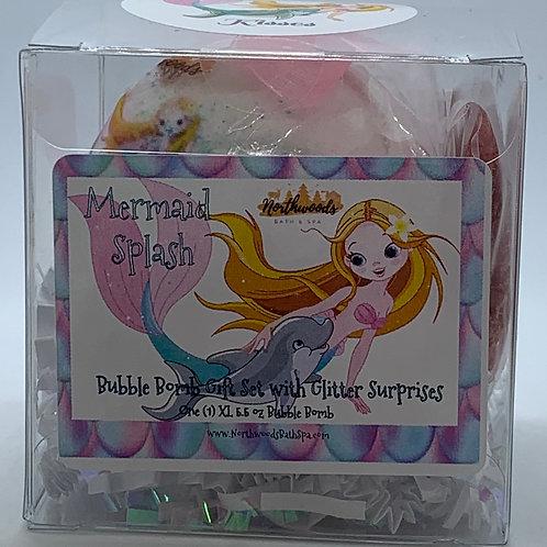 """Mermaid Splash """"Kisses"""" 5.5 oz Bubble Bomb Gift Set"""
